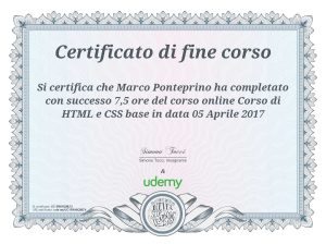 Attestato Marco Ponteprino CSS HTML