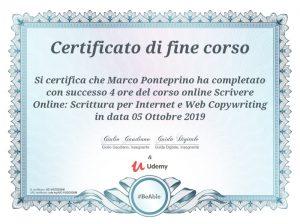Attestato copywriting