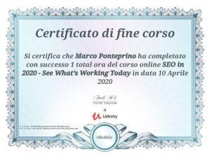 Certificato SEO 2020