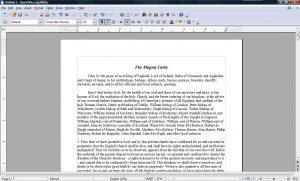 OpenOffice esempio di documento aperto
